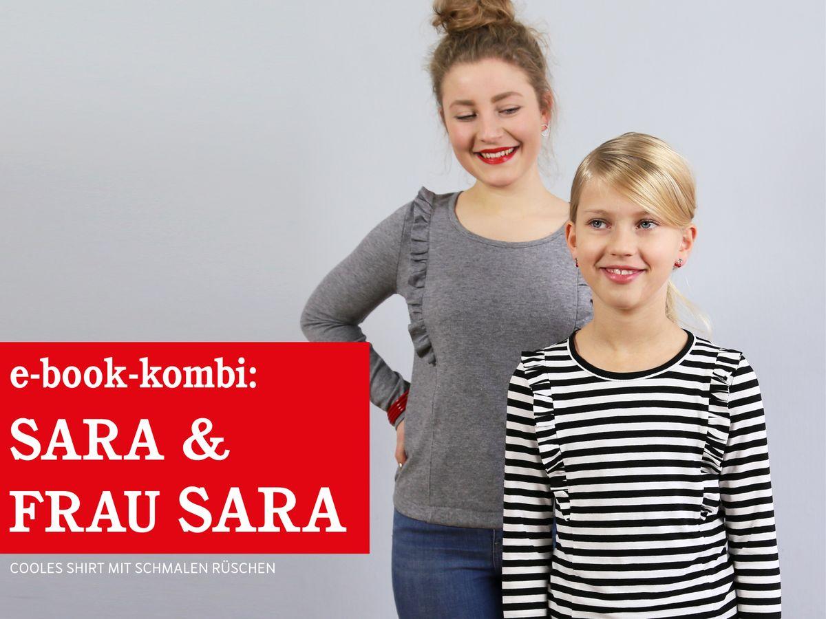 Produktfoto 1 von STUDIO SCHNITTREIF für Schnittmuster FRAU SARA & SARA Rüschenshirts im Partnerlook