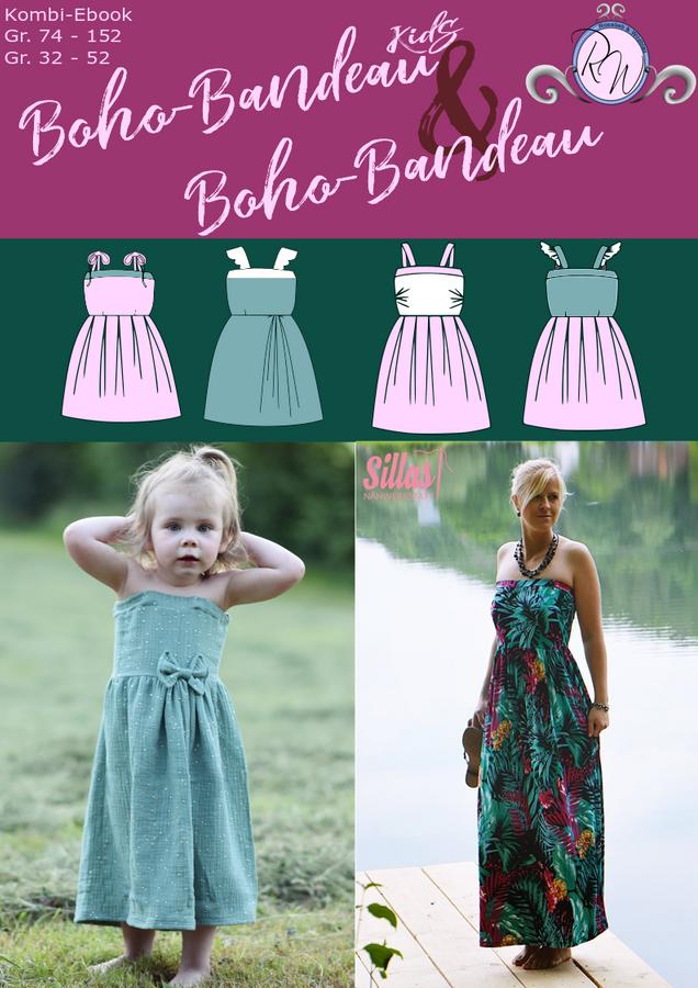 Produktfoto 1 von Rosalieb & Wildblau für Schnittmuster Kombi-Ebook Boho-Bandeau Damen und Kids