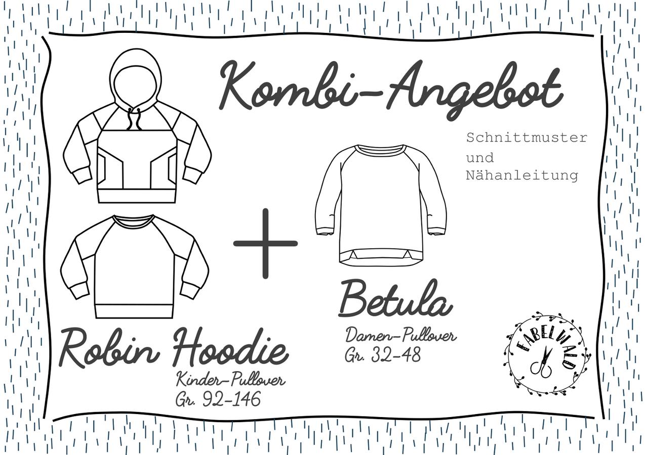 """Produktfoto 1 von Fabelwald für Schnittmuster Kombi-Angebot: """"ROBIN Hoodie"""" + """"BETULA"""""""