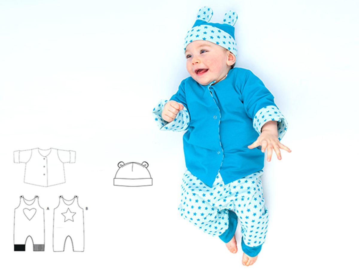 Produktfoto 1 von Pattern 4 kids für Schnittmuster Alberto, Flavio und Orso - Strampler, Jacke und Mütze