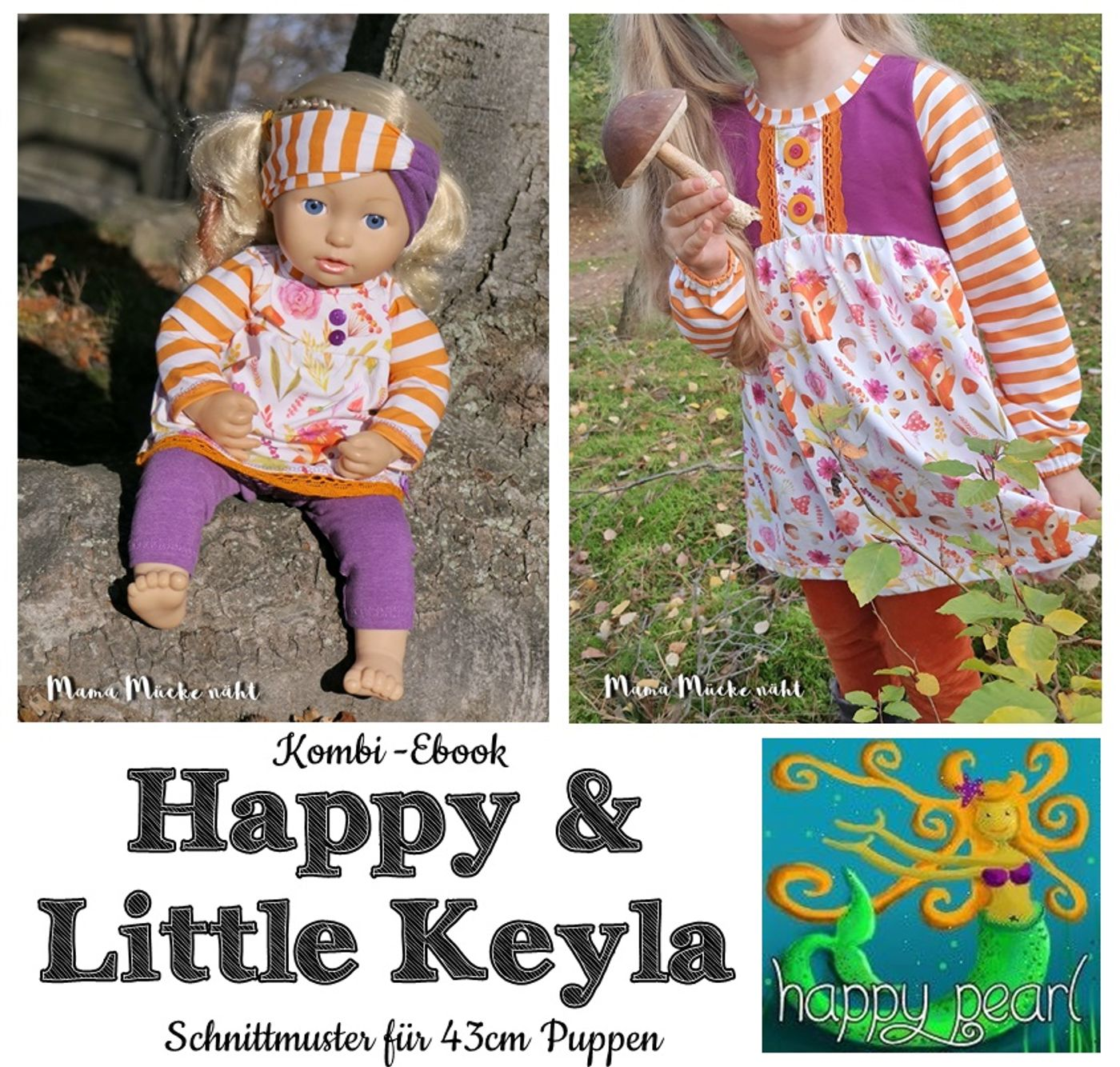 Produktfoto 1 von Happy Pearl für Schnittmuster Little Keyla + Happy Keyla - Tunika und 43cm Puppenschnitt