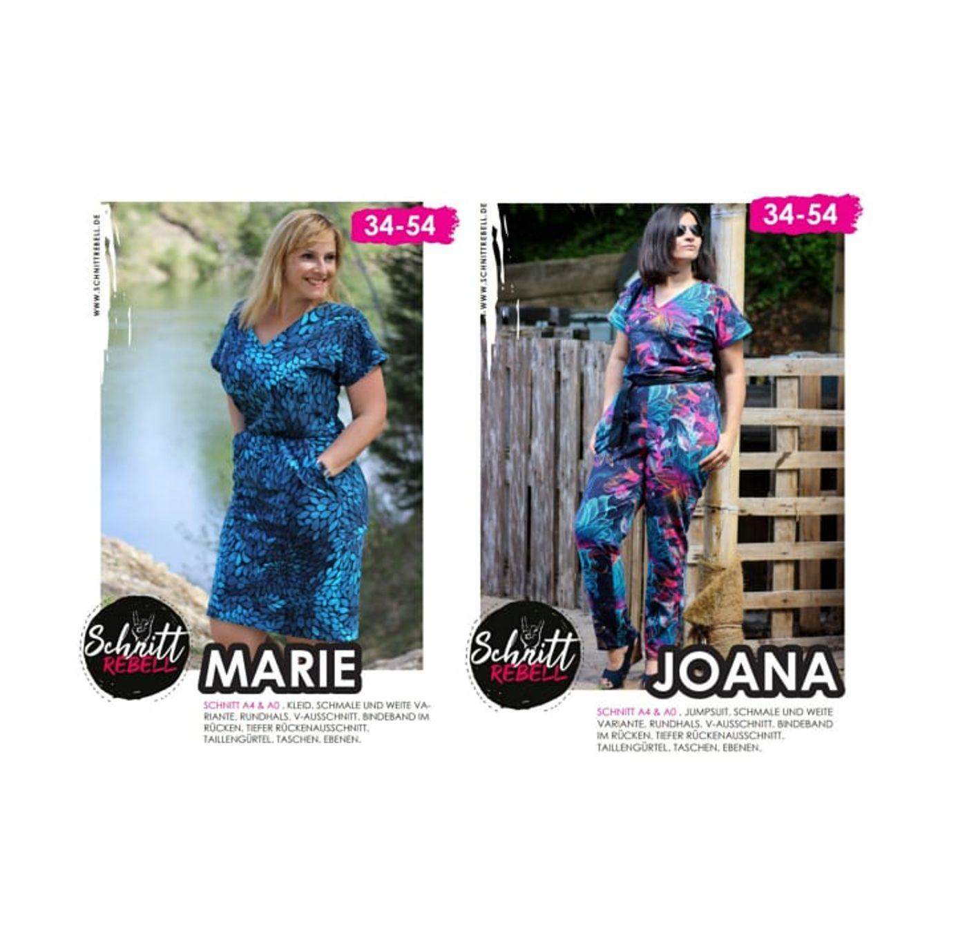 Produktfoto 1 von Schnittrebell für Schnittmuster Kombi Ebook Jumpsuit Marie & Kleid Joana Gr.34-54