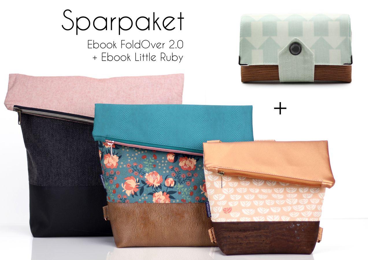 Produktfoto 1 von Hansedelli für Schnittmuster Tasche FoldOver 2.0 + Geldbörse Little Ruby