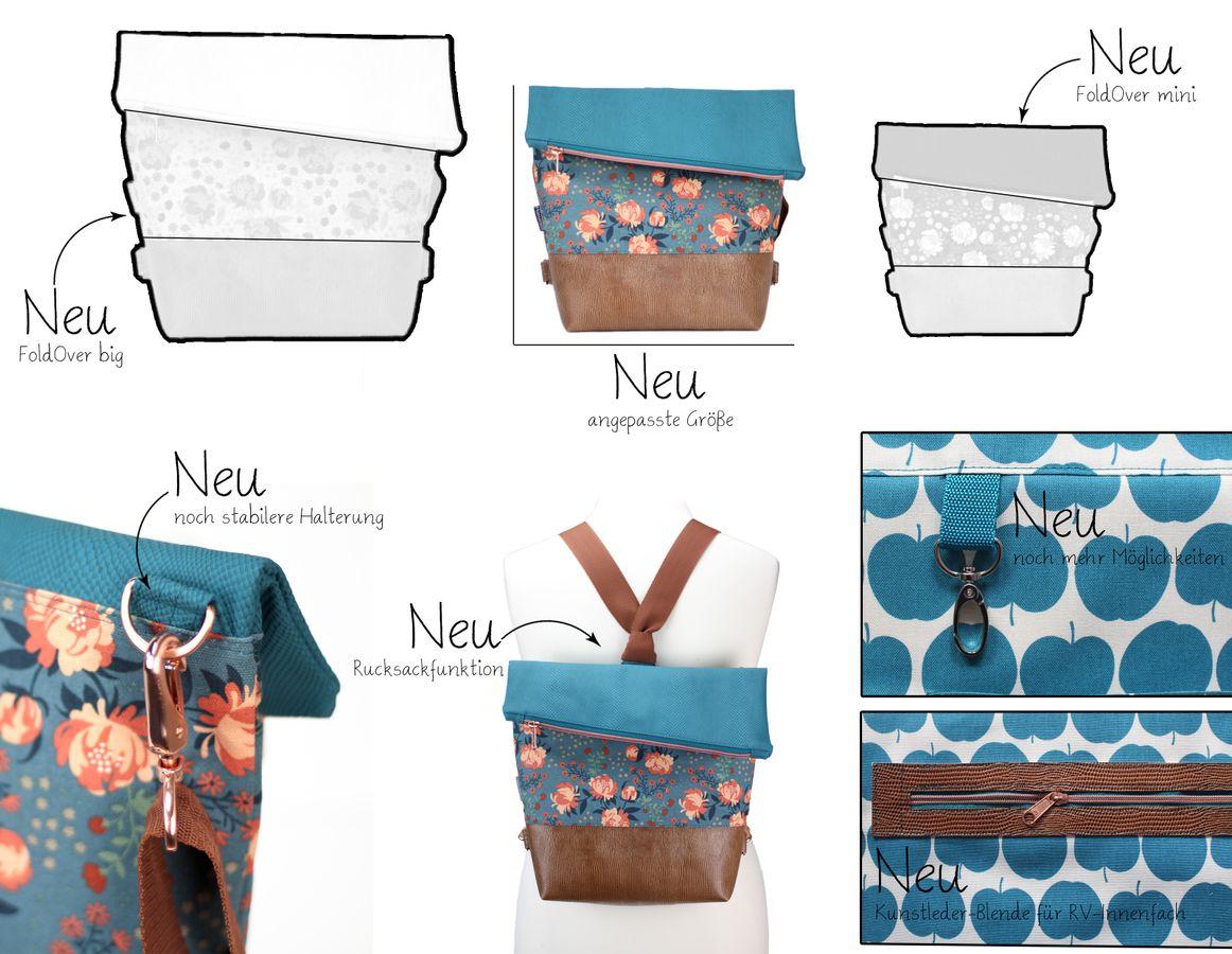 Produktfoto 3 von Hansedelli für Schnittmuster Tasche FoldOver 2.0 + Geldbörse Little Ruby