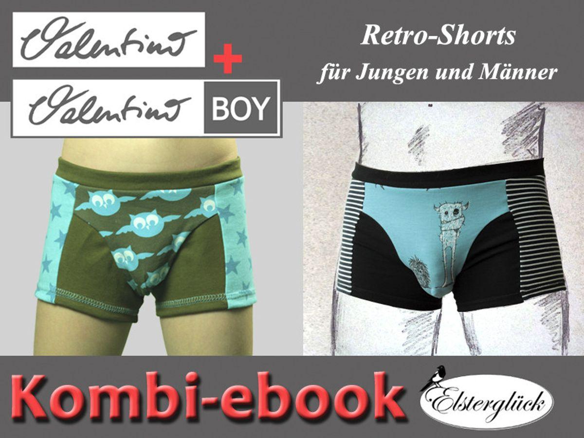 Produktfoto 2 von Elsterglück für Schnittmuster Valentino Vater-Sohn Unterhose Shorts Boxershorts