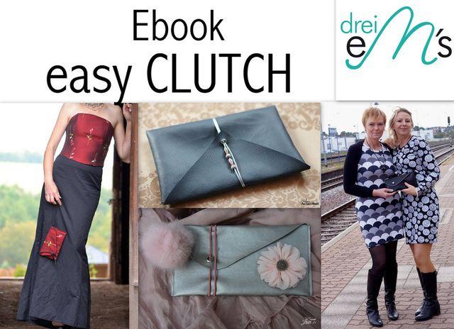 Produktfoto von drei eMs zum Nähen für Schnittmuster easy CLUTCH