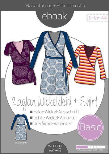 Produktfoto von ki-ba-doo zum Nähen für Schnittmuster Basic Raglan Wickelkleid + Shirt