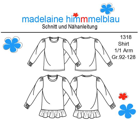 Produktfoto von madelaine himmmelblau für Schnittmuster 1318 Mädchenshirt