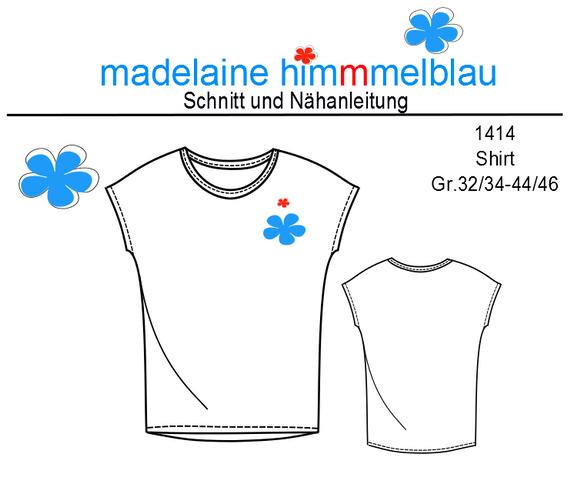 Produktfoto von madelaine himmmelblau für Schnittmuster 1414 Shirt