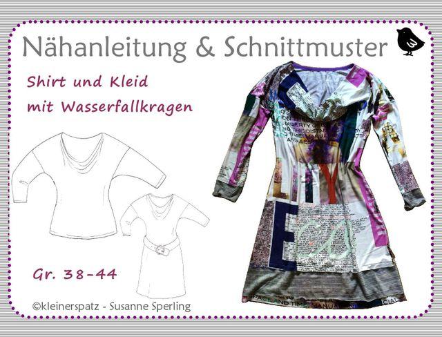 Produktfoto von kleinerspatz für Schnittmuster Shirt und Kleid mit Wasserfallkragen