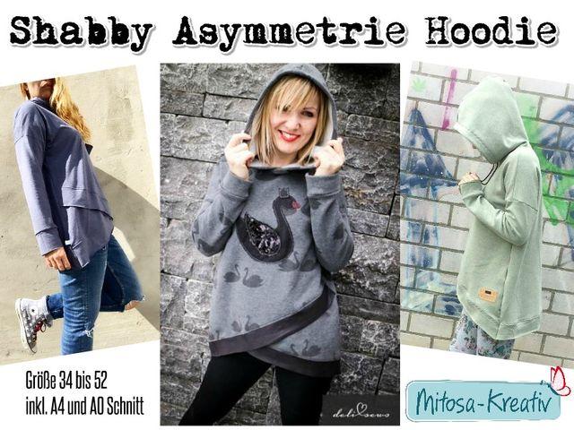 Produktfoto von MiToSa-Kreativ für Schnittmuster Shabby Asymmetrie Hoodie für Damen