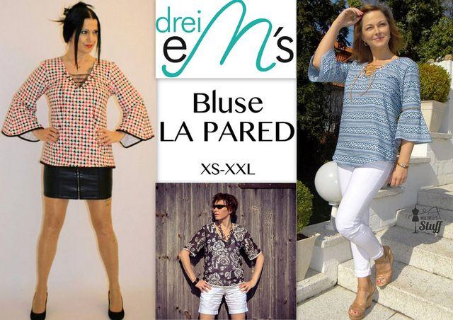 Produktfoto von drei eMs für Schnittmuster Bluse La Pared