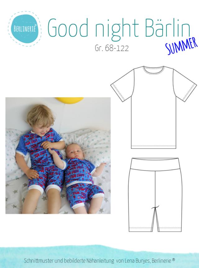 Produktfoto von Berlinerie zum Nähen für Schnittmuster Schlafanzug Good night Bärlin - Summer Edition