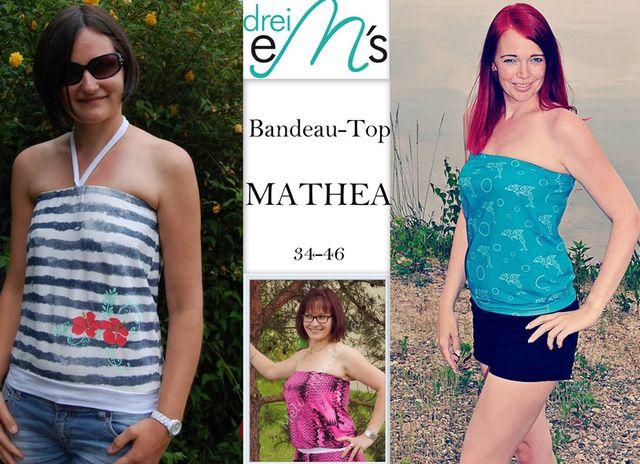 Produktfoto von drei eMs zum Nähen für Schnittmuster Bandeau-Top Mathea