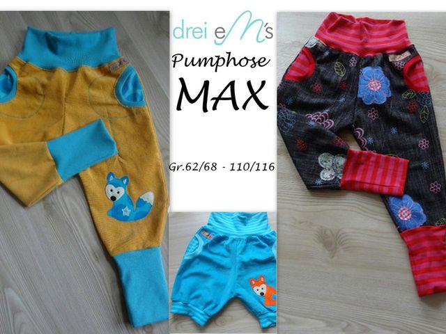 Produktfoto von drei eMs zum Nähen für Schnittmuster Pumphose Max