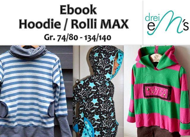 Produktfoto von drei eMs zum Nähen für Schnittmuster Hoodie oder Rolli Max