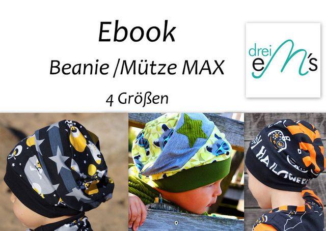 Produktfoto von drei eMs zum Nähen für Schnittmuster Beanie/Mütze Max
