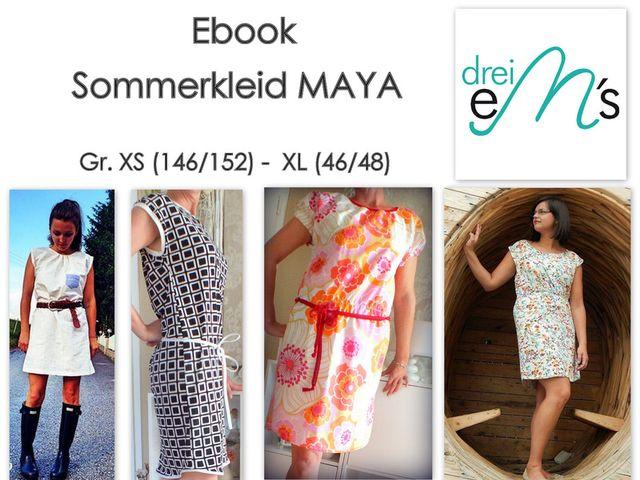 Produktfoto von drei eMs zum Nähen für Schnittmuster Sommerkleid Maya