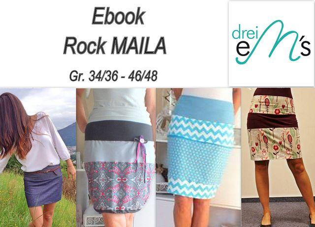 Produktfoto von drei eMs zum Nähen für Schnittmuster Ballonrock Maila