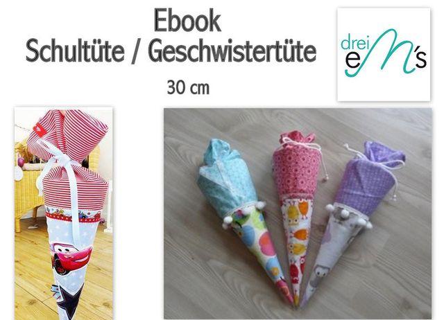 Produktfoto von drei eMs zum Nähen für Schnittmuster Schultüte oder Geschwistertüte