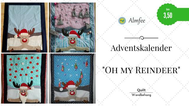 """Produktfoto von Almfee für Schnittmuster Adventskalender-Quilt """"Oh my Reindeer!"""""""