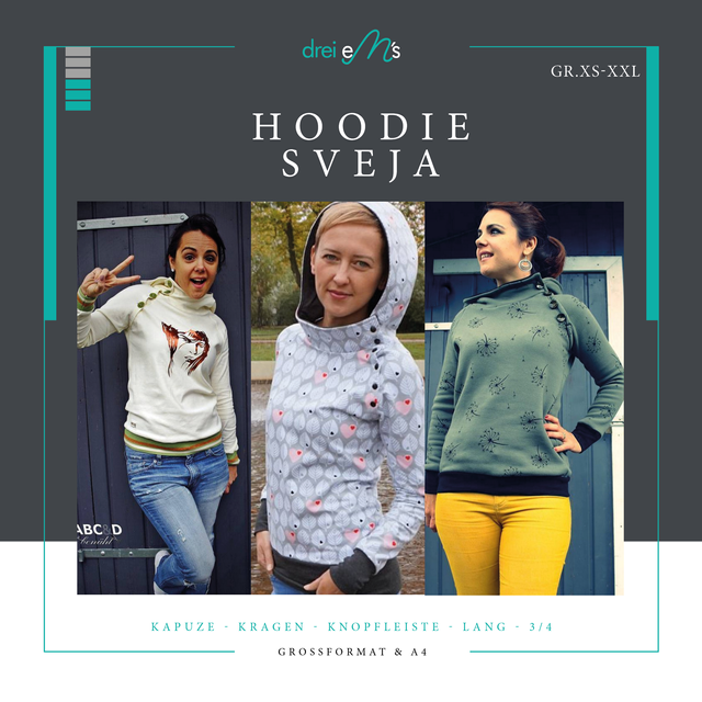 Produktfoto von drei eMs zum Nähen für Schnittmuster Hoodie Sveja