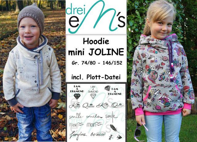 Produktfoto von drei eMs zum Nähen für Schnittmuster Hoodie Mini Joline