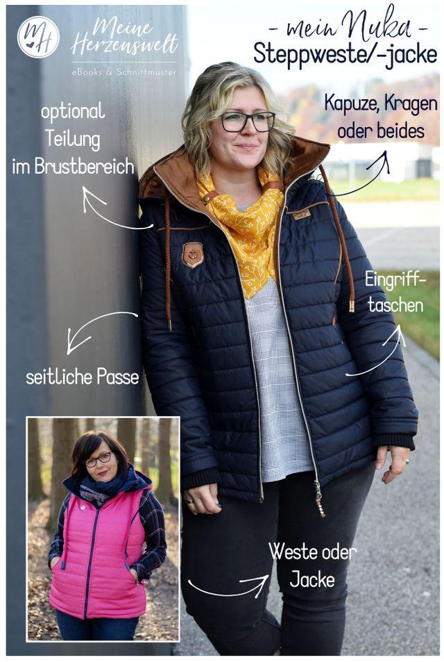 Produktfoto von Meine Herzenswelt zum Nähen für Schnittmuster Steppweste/Jacke Damen - Mein Nuka