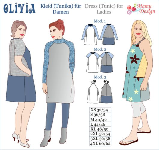 Produktfoto von Mamu Design zum Nähen für Schnittmuster Kleid/Tunika Olivia