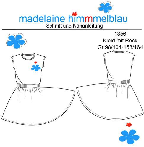 Produktfoto von madelaine himmmelblau zum Nähen für Schnittmuster 1356 Tellerrock-Kleid