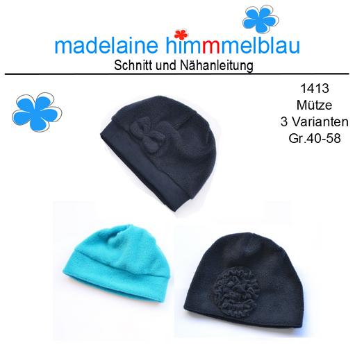Produktfoto von madelaine himmmelblau zum Nähen für Schnittmuster 1413 Mützen-Set