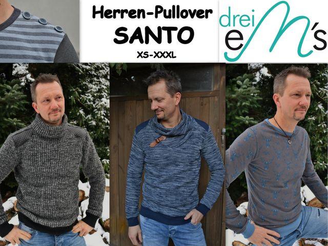 Produktfoto von drei eMs für Schnittmuster Herren-Pullover Santo