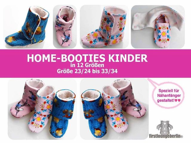 Produktfoto von Firstlounge Berlin zum Nähen für Schnittmuster Home-Booties Kinder