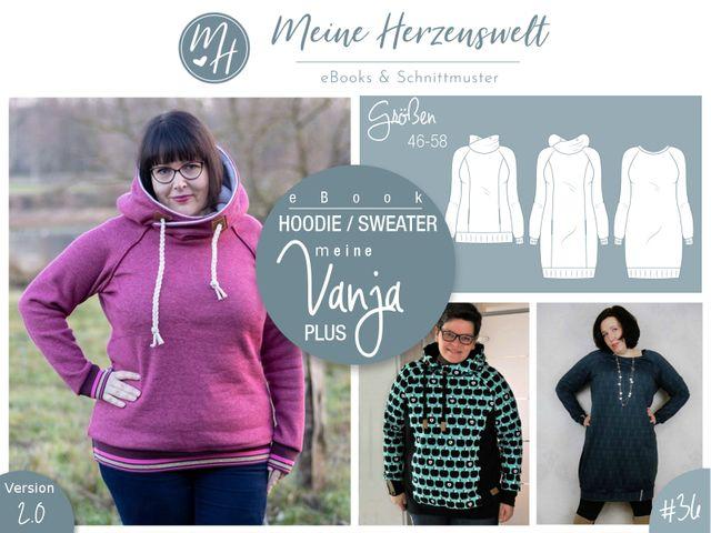 Produktfoto von Meine Herzenswelt zum Nähen für Schnittmuster Hoodie/Sweater Meine Vanja plus