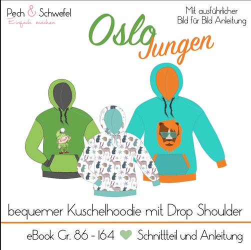 Produktfoto von Pech & Schwefel zum Nähen für Schnittmuster Hoodie Oslo Jungen
