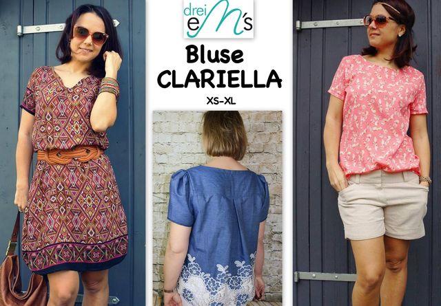 Produktfoto von drei eMs zum Nähen für Schnittmuster Bluse Clariella
