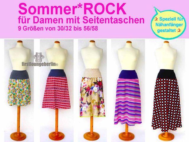 Produktfoto von Firstlounge Berlin zum Nähen für Schnittmuster Sommerrock in 5 Längen