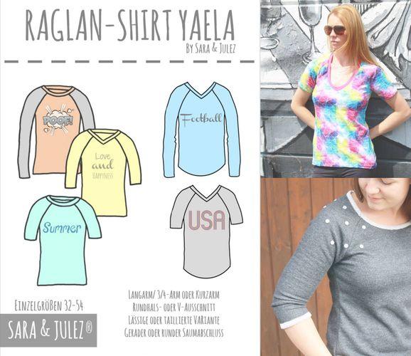 Produktfoto von Sara & Julez zum Nähen für Schnittmuster Raglan-Shirt Yaela