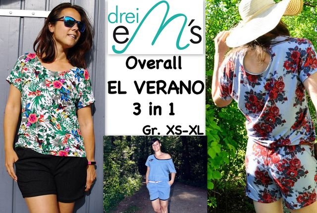 Produktfoto von drei eMs zum Nähen für Schnittmuster Overall El Verano