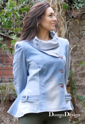Produktfoto von DongoDesign zum Nähen für Schnittmuster Upcycling-Jeans-Jacke