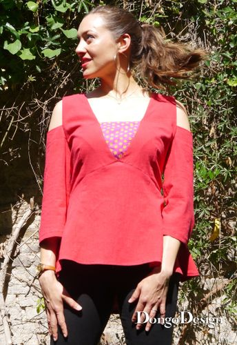 Produktfoto von DongoDesign zum Nähen für Schnittmuster Bluse Pepita