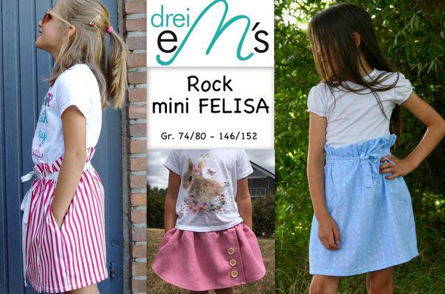 Produktfoto von drei eMs zum Nähen für Schnittmuster Rock mini Felisa