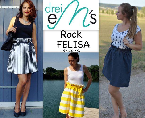 Produktfoto von drei eMs zum Nähen für Schnittmuster Rock Felisa