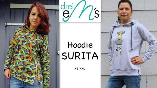 Produktfoto von drei eMs zum Nähen für Schnittmuster Hoodie Surita