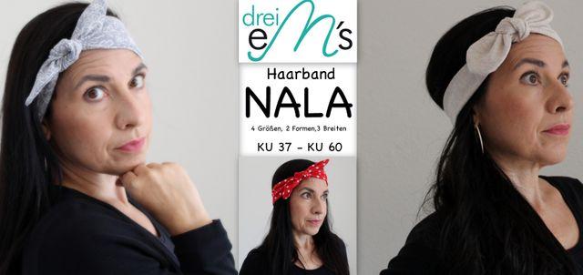Produktfoto von drei eMs zum Nähen für Schnittmuster Haarband Nala