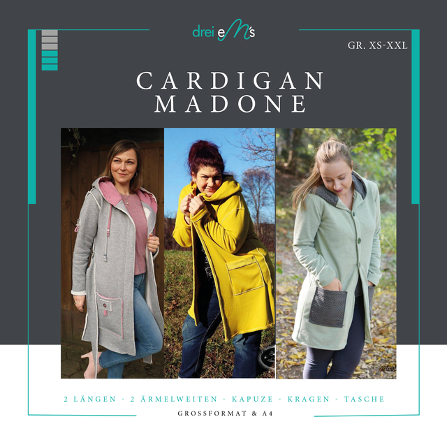 Produktfoto von drei eMs zum Nähen für Schnittmuster Cardigan Madone