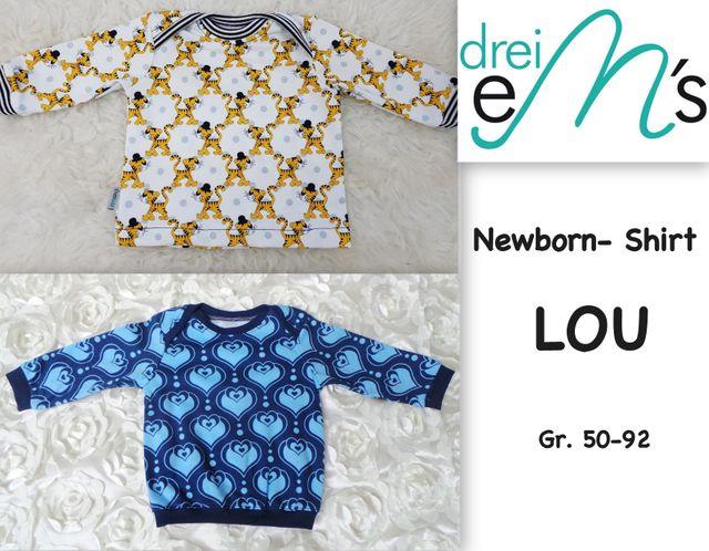 Produktfoto von drei eMs zum Nähen für Schnittmuster Newborn-Shirt Lou