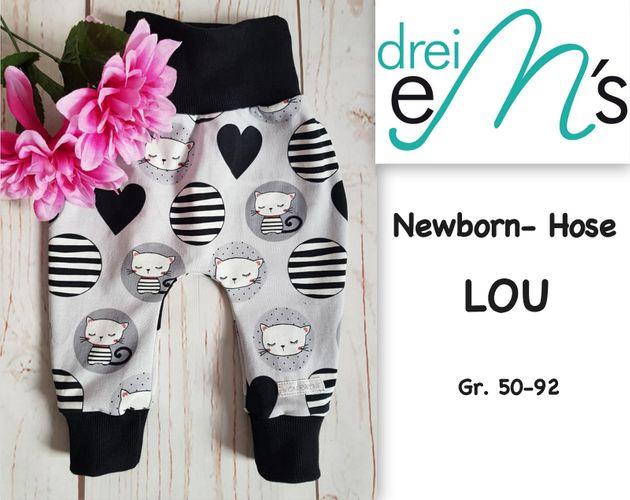 Produktfoto von drei eMs zum Nähen für Schnittmuster Newborn-Hose Lou