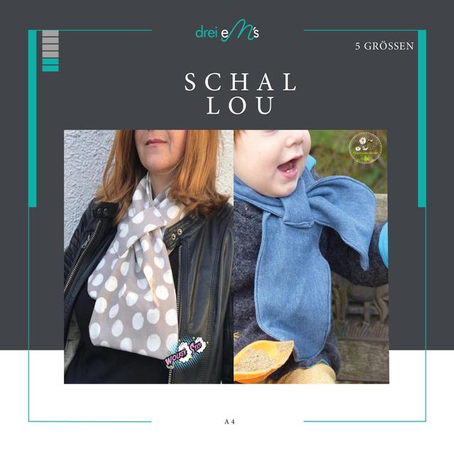 Produktfoto von drei eMs zum Nähen für Schnittmuster Family-Schal Lou