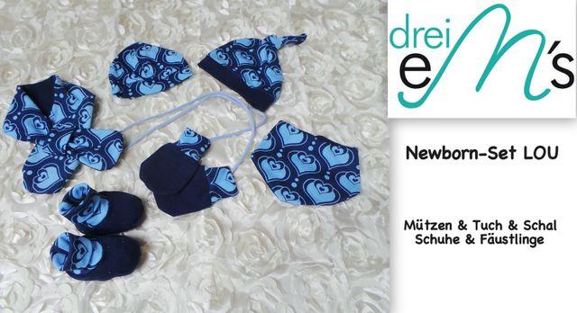 Produktfoto von drei eMs zum Nähen für Schnittmuster Newborn-Set Accessoires Lou